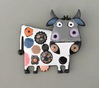Adorable  Cow artistic Brooch in enamel on metal