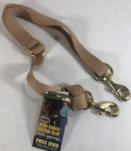 """WEAVER Horse Tack Deluxe Nylon Tie Down Strap 1""""x40"""" SAND Brass Clips Adjustable"""
