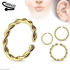 "Nose Hoop Split Ring Annealed 20 Gauge 5/16"" Braided Gold Plate Body Jew"