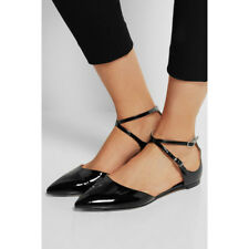 NEW GIANVITO ROSSI $720 black patent leather point toe flats shoes Italian 39.5