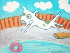 American Pit Bull Terrier Belly Flop Dog Outsider Art 8 x 10 Giclee Print Ksams