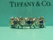 TIFFANY & CO. JEAN SCHLUMBERGER 16 STONE DIAMOND BLUE SAPPHIRE RING PLATINUM 7.5