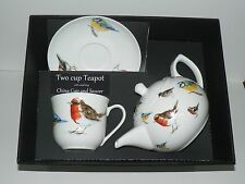 Garden birds 2 cup teapot,cup and saucer gift boxed. cup,saucer teapot boxed
