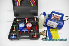 Refrigerant Vacuum Pump + Gauge manifold kit R410a R134a R404 Split A/C unit