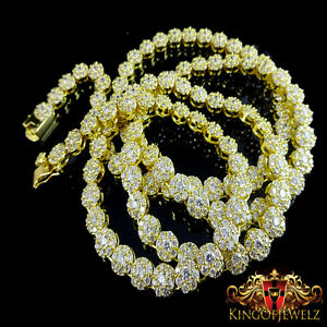 NEW MENS YELLOW ON WHITE SIMULATED LAB DIAMOND CLUSTER FLOWER NECKLACE CHAIN