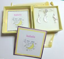 """I Love you to the Moon and Back"" Moon Charm Necklace & Earrings Gift Box & Tag"