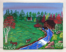 Vtg signed Primitive Painting Log Cabin Mill Stream Deer 11x14 canvas Roy Cain
