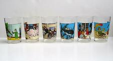 VERY RARE COMPLETE COLLECTION (6) LARGE IMAGE TINTIN GLASSES AMORA @LOMBARD 1974