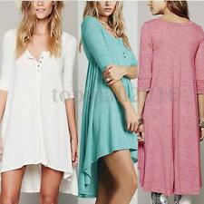 Women Long Sleeve V Neck Irregular Tops Solid T-Shirt Blouse Boho Maxi Sun Dress