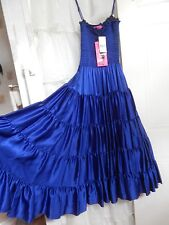 BETSEY JOHNSON 100% SILK ROYAL BLUE FULL LENGTH DRESS NEW W/TAGS $348 PROM PARTY