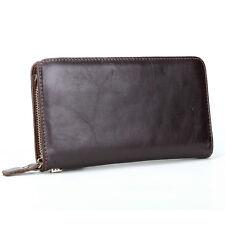 Mens Clutch Long Zip-Around Wallet Purse Checkbook Vintage Leather Handbag Bag