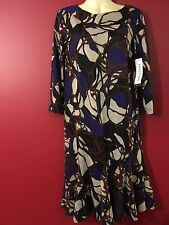 PERCEPTIONS Women's Brown/Beige/Blue/Black Sweater Dress - Size 8 - NWT