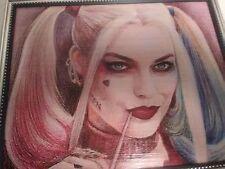 Harley Quinn Portrait Framed Wooden Fan Art Wall Hanging