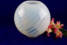 "Antique Opalescent Swirl White Glass Ball Lamp Shade 4"" Fitter"