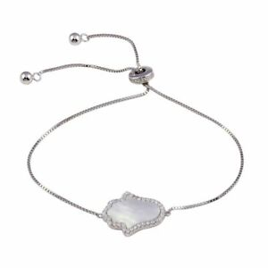 LARIAT SIDEWAY MOTHER OF PEARL HAMSA W/ LAB DIAMOND ACCENTS/ STERLING SILVER
