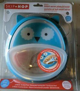 New Skip Hop Zoo Smart Serve Plate & Bowl Light Blue Owl