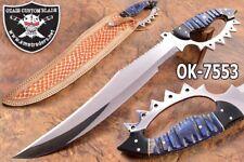 "20.4""OZAIR CUSTOM D2 STEEL MIRROR POLISH D-GUARD BEAST WAR BOWIE KNIFE 7553"