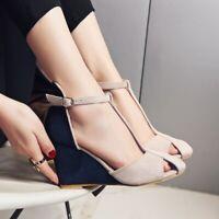 Womens Transparent Block Med Heels Open Toes Slides Hollow