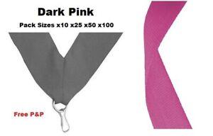 DARK PINK MEDAL RIBBONS LANYARDS & CLIP 22mm WOVEN PACKS 10/25/50/100