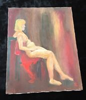 Fauvist/Expressionist Oil on Canvas - Nude Woman - Signed 'OZ'