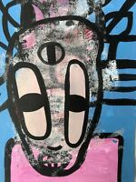 Hasworld original Abstract Expressionist Signed,Street Pop,contemporary Figure