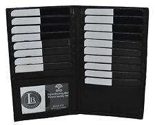 Leather Black Bifold Credit Card Wallet 19 Slots ID Window Men Women Organizer