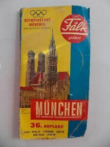 36. Auflage 1972 Falk Plan München Falkplan Stadtplan Map 50.Geburtstag Olympia