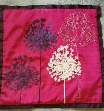 Next Silk Effect Deep Pink Purple Cushion Cover Applique Embroidered