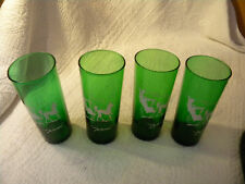 "Set/4 Anchor Hocking Forest Green""The Hansom"" Highball Drink GlassesEXCELLENT"