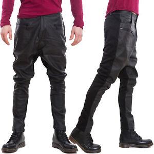Pantalons Homme Cuir Écologique Noir Harem Moto Entrejambe Bas Zip Neuf PE3072-1