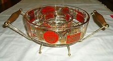 Vintage 1950's Glass Chip And Dip Recipe Bowls With Carrier Mcm Barware