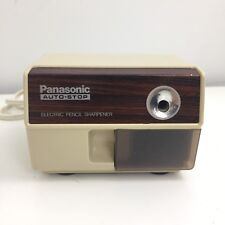 Panasonic Electric Pencil Sharpener KP-110 Faux Wood Grain Cream Color Vintage