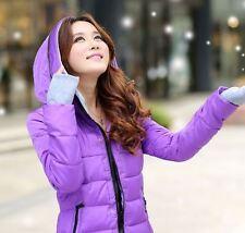 Comodo caldo piumino cappotto lungo donna viola cappuccio morbido zip moda 1125