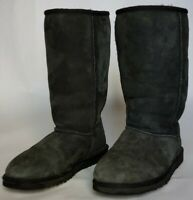UGG Australia Classic Tall Gray 5815 Suede Sheepskin Boots Women's Size US 6