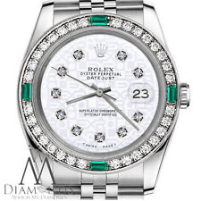 Ladies Rolex 36mm Datejust White Jubilee Dial with Emerald Diamonds Watch