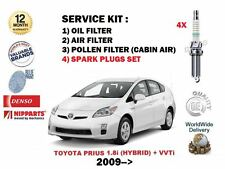 FOR TOYOTA PRIUS 1.8 HYBRID  2009-> OIL AIR POLLEN 3 FILTER + PLUGS SERVICE KIT