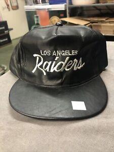 Los Angeles Raiders Black Leather Stitches John Madden Hat Rare NFL