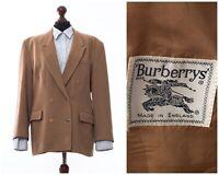 Women's BURBERRYS Double Breasted Blazer Coat Jacket Wool Beige Size UK 16 US 12