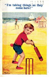 Cricket Theme Postcard 1945 Ball Bottom Bat Stumps Arthur Butcher  Artist Signed
