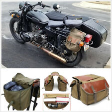 Motorcycle Canvas Saddle Bag Equine Back Pack Fit For Sportster Honda Suzuki
