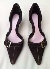 M&S LIMITED COLLECTION Chocolate Suede Mid Heels Shoes Size UK 3.5 EU 36.5