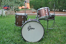 1 OWNER SET - 1960's GRETSCH 20/12/14 with 4157 Snare Drum in BURGUNDY SPARKLE!