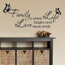 Wall stickers family love begins and never ends Art Vinyl Decor Home Kids decal