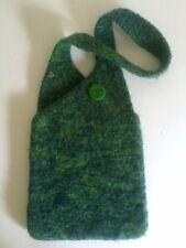 HAND KNIT HAND FELTED WOOL VARIEGATED GREEN BLUE DESIGNER SHOULDER BAG PURSE