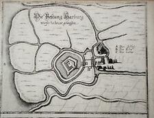 Hamburg Festung Harburg Merian echter alter Kupferstich 1645