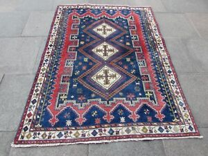 Vintage Hand Made Traditional Oriental Wool Blue Red Large Rug Carpet 200x150cm