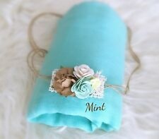 Soft Cheesecloth Wrap Swaddle Headband Baby Newborn Photography Prop In Mint