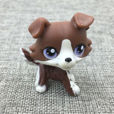 Littlest Pet Shop LPS Toys Purple Eyes Puppy Brown White Collie Dog Cute Dog Toy