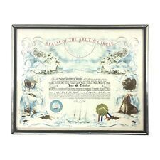 "Vintage ""Realm of the Arctic Circle"" Crossing aka Blue Nose USN Navy Certificate"