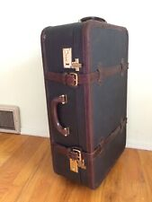 Large Mulholland Brothers Leather Travel Rolling Trunk Case Luggage Bag 26x15""